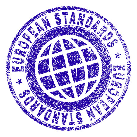 EUROPEAN STANDARDS stamp imprint with grunge texture. Blue vector rubber seal imprint of EUROPEAN STANDARDS caption with dirty texture. Seal has words arranged by circle and globe symbol.