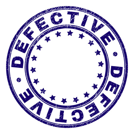 DEFECTIVE stamp seal imprint with distress texture. Designed with round shapes and stars. Blue vector rubber print of DEFECTIVE label with corroded texture.