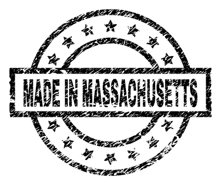 MADE IN MASSACHUSETTS stamp seal watermark with distress style. Designed with rectangle, circles and stars. Black vector rubber print of MADE IN MASSACHUSETTS text with dust texture.  イラスト・ベクター素材