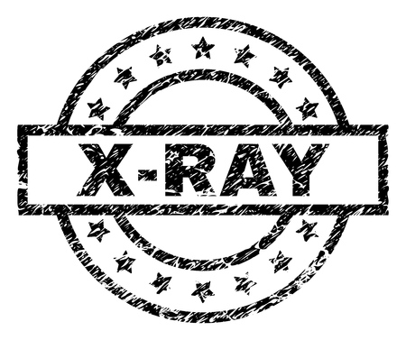 X-RAY stamp seal watermark with distress style. Designed with rectangle, circles and stars. Black vector rubber print of X-RAY caption with dust texture.