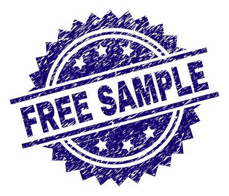 FREE SAMPLE stamp seal watermark with distress style. Blue vector rubber print of FREE SAMPLE title with dirty texture.