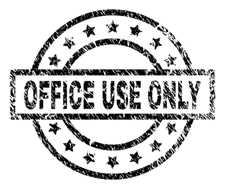 OFFICE USE ONLY stamp seal watermark with distress style. Designed with rectangle, circles and stars. Black vector rubber print of OFFICE USE ONLY caption with dirty texture. Illustration
