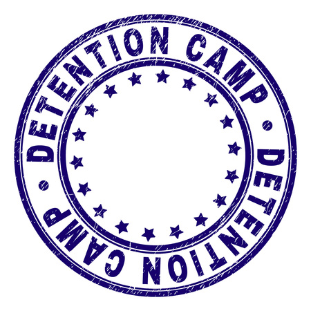 DETENTION CAMP stamp seal imprint with grunge texture. Designed with circles and stars. Blue vector rubber print of DETENTION CAMP caption with dust texture.