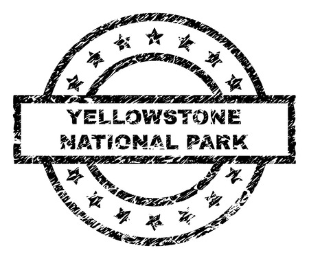 YELLOWSTONE NATIONAL PARK stamp seal watermark with distress style. Designed with rectangle, circles and stars. Black vector rubber print of YELLOWSTONE NATIONAL PARK label with unclean texture.