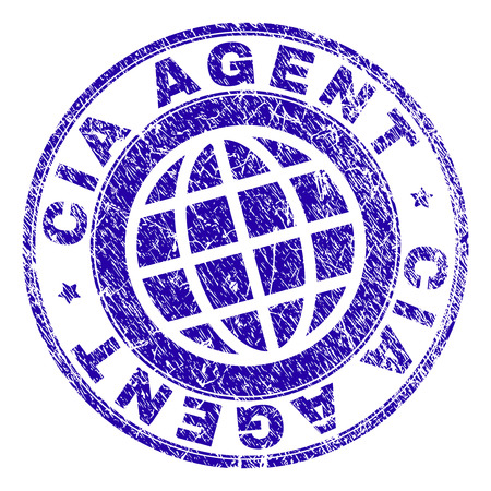 CIA AGENT stamp print with distress texture. Blue vector rubber seal print of CIA AGENT text with corroded texture. Seal has words placed by circle and globe symbol.