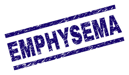 EMPHYSEMA seal print with grunge style. Blue vector rubber print of EMPHYSEMA title with unclean texture. Text title is placed between parallel lines.