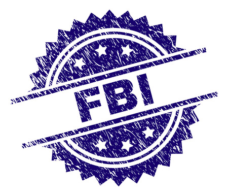 FBI stamp seal watermark with distress style. Blue vector rubber print of FBI tag with retro texture.