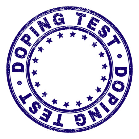 DOPING TEST stamp seal imprint with distress texture. Designed with round shapes and stars. Blue vector rubber print of DOPING TEST text with scratched texture.