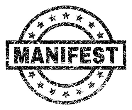MANIFEST stamp seal watermark with distress style. Designed with rectangle, circles and stars. Black vector rubber print of MANIFEST label with retro texture.