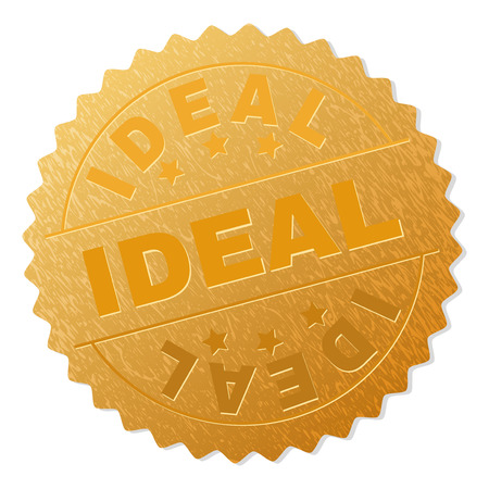 IDEAL gold stamp reward. Vector gold medal with IDEAL text. Text labels are placed between parallel lines and on circle. Golden surface has metallic texture. Çizim