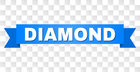 DIAMOND text on a ribbon. Designed with white caption and blue stripe. Vector banner with DIAMOND tag on a transparent background.