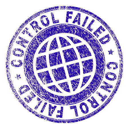 CONTROL FAILED stamp print with grunge texture. Blue vector rubber seal print of CONTROL FAILED label with retro texture. Seal has words placed by circle and planet symbol. Illustration
