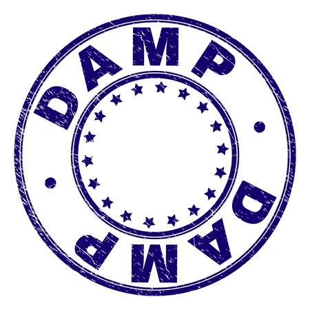 DAMP stamp seal watermark with grunge texture. Designed with round shapes and stars. Blue vector rubber print of DAMP caption with scratched texture. 向量圖像