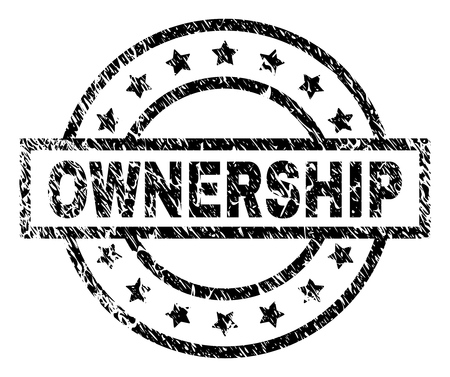OWNERSHIP stamp seal watermark with distress style. Designed with rectangle, circles and stars. Black vector rubber print of OWNERSHIP tag with retro texture.