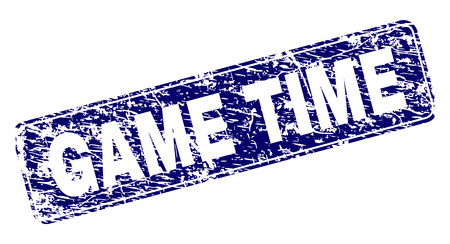 GAME TIME stamp seal imprint with grunge texture. Seal shape is a rounded rectangle with frame. Blue vector rubber print of GAME TIME title with grunge texture. Ilustrace