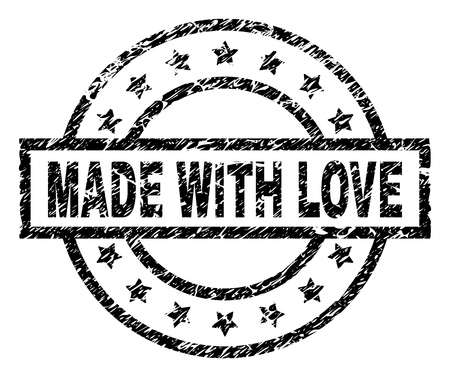 MADE WITH LOVE stamp seal watermark with distress style. Designed with rectangle, circles and stars. Black vector rubber print of MADE WITH LOVE title with grunge texture. Vektorgrafik