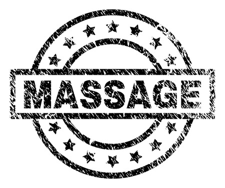 MASSAGE stamp seal watermark with distress style. Designed with rectangle, circles and stars. Black vector rubber print of MASSAGE text with dust texture. Illustration