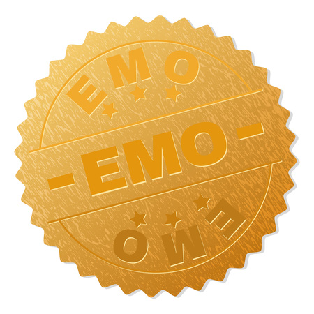 EMO gold stamp award. Vector gold award with EMO label. Text labels are placed between parallel lines and on circle. Golden surface has metallic texture.