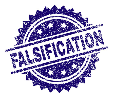 FALSIFICATION stamp seal watermark with distress style. Blue vector rubber print of FALSIFICATION text with dust texture. Illustration
