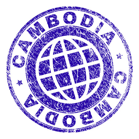 CAMBODIA stamp imprint with grunge texture. Blue vector rubber seal imprint of CAMBODIA tag with grunge texture. Seal has words placed by circle and planet symbol.