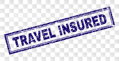 TRAVEL INSURED stamp seal print with rubber print style and double framed rectangle shape. Stamp is placed on a transparent background. Vetores