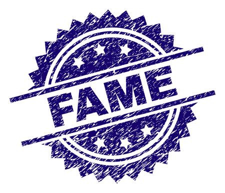 FAME stamp seal watermark with distress style. Blue vector rubber print of FAME caption with unclean texture.