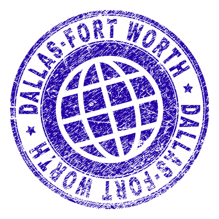 DALLAS-FORT WORTH stamp imprint with grunge texture. Blue vector rubber seal imprint of DALLAS-FORT WORTH text with dust texture. Seal has words arranged by circle and globe symbol.