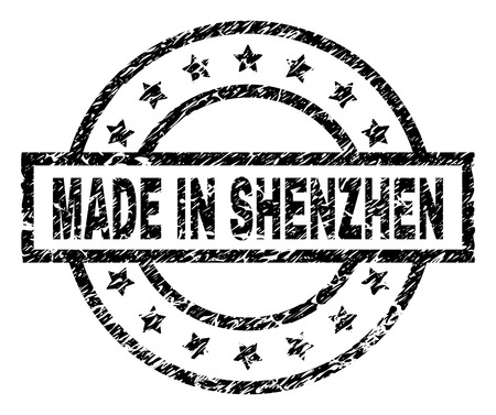 MADE IN SHENZHEN stamp seal watermark with distress style. Designed with rectangle, circles and stars. Black vector rubber print of MADE IN SHENZHEN caption with scratched texture.