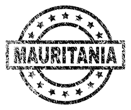 MAURITANIA stamp seal watermark with distress style. Designed with rectangle, circles and stars. Black vector rubber print of MAURITANIA tag with corroded texture.
