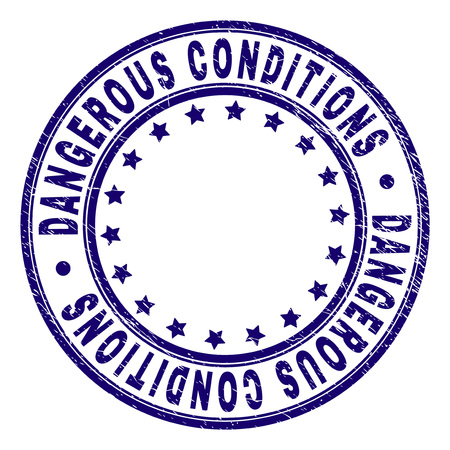 DANGEROUS CONDITIONS stamp seal imprint with grunge texture. Designed with round shapes and stars. Blue vector rubber print of DANGEROUS CONDITIONS title with retro texture.