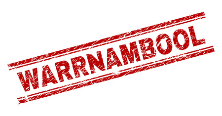 WARRNAMBOOL seal print with grunge effect. Red vector rubber print of WARRNAMBOOL text with grunge texture. Text tag is placed between double parallel lines.