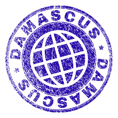 DAMASCUS stamp print with distress texture. Blue vector rubber seal print of DAMASCUS caption with unclean texture. Seal has words arranged by circle and globe symbol. Ilustração