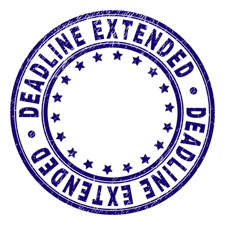 DEADLINE EXTENDED stamp seal watermark with grunge texture. Designed with round shapes and stars. Blue vector rubber print of DEADLINE EXTENDED title with grunge texture. Ilustração
