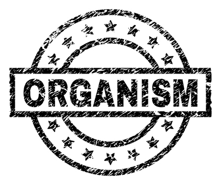 ORGANISM stamp seal watermark with distress style. Designed with rectangle, circles and stars. Black vector rubber print of ORGANISM caption with retro texture.