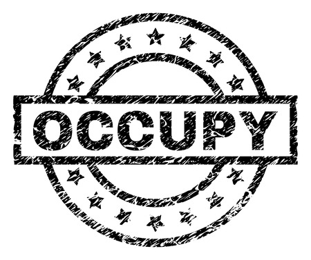 OCCUPY stamp seal watermark with distress style. Designed with rectangle, circles and stars. Black vector rubber print of OCCUPY text with grunge texture.