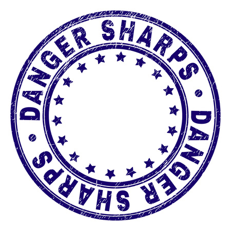 DANGER SHARPS stamp seal imprint with grunge texture. Designed with circles and stars. Blue vector rubber print of DANGER SHARPS text with grunge texture.