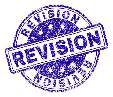 REVISION stamp seal imprint with distress texture. Designed with rounded rectangles and circles. Blue vector rubber print of REVISION title with corroded texture.