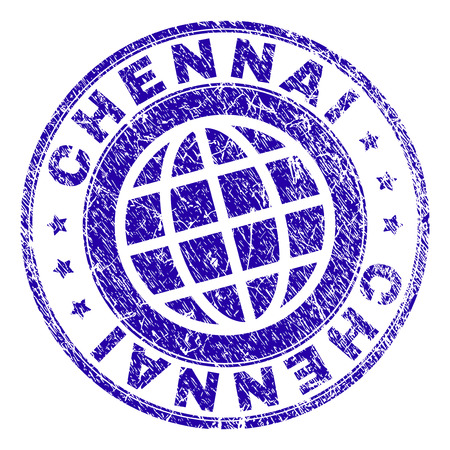 CHENNAI stamp watermark with distress texture. Blue vector rubber seal print of CHENNAI text with grunge texture. Seal has words arranged by circle and planet symbol. Illustration