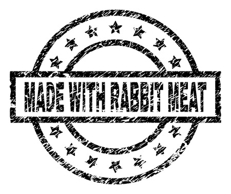MADE WITH RABBIT MEAT stamp seal watermark with distress style. Designed with rectangle, circles and stars. Black vector rubber print of MADE WITH RABBIT MEAT text with dust texture.