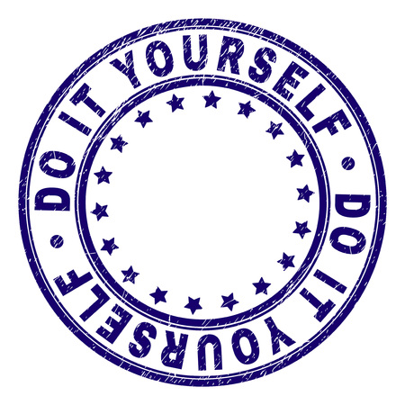 DO IT YOURSELF stamp seal watermark with grunge texture. Designed with round shapes and stars. Blue vector rubber print of DO IT YOURSELF caption with unclean texture.