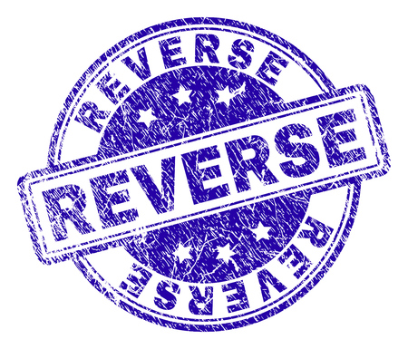 REVERSE stamp seal watermark with distress texture. Designed with rounded rectangles and circles. Blue vector rubber print of REVERSE title with retro texture. Illustration