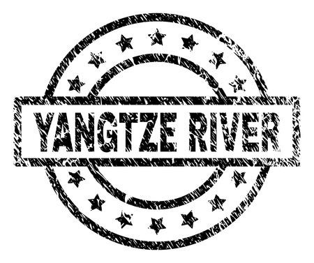 YANGTZE RIVER stamp seal watermark with distress style. Designed with rectangle, circles and stars. Black vector rubber print of YANGTZE RIVER title with scratched texture.