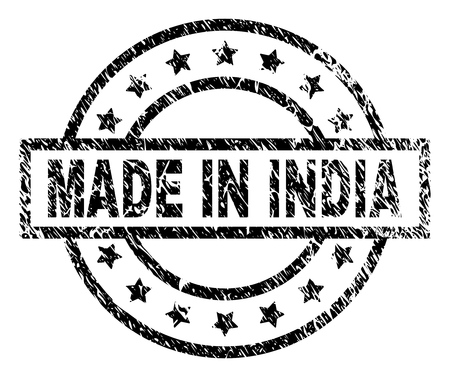 MADE IN INDIA stamp seal watermark with distress style. Designed with rectangle, circles and stars. Black vector rubber print of MADE IN INDIA text with dirty texture.