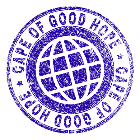 CAPE OF GOOD HOPE stamp imprint with grunge texture. Blue vector rubber seal imprint of CAPE OF GOOD HOPE caption with corroded texture. Seal has words arranged by circle and planet symbol.