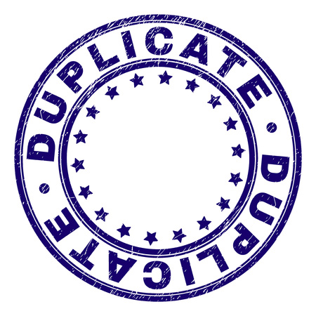 DUPLICATE stamp seal imprint with grunge texture. Designed with circles and stars. Blue vector rubber print of DUPLICATE label with dirty texture.  イラスト・ベクター素材