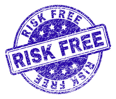 RISK FREE stamp seal watermark with grunge texture. Designed with rounded rectangles and circles. Blue vector rubber print of RISK FREE label with grunge texture. Ilustrace