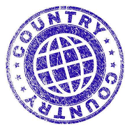 COUNTRY stamp imprint with grunge texture. Blue vector rubber seal imprint of COUNTRY text with corroded texture. Seal has words arranged by circle and globe symbol.