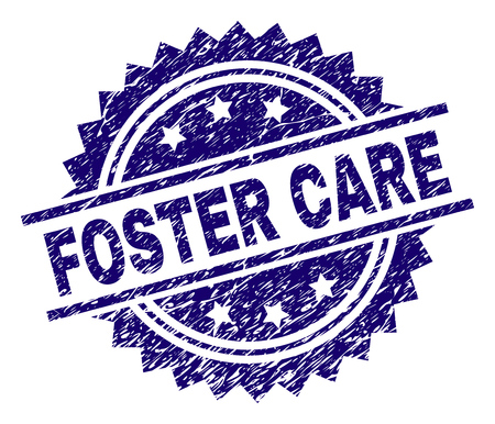 FOSTER CARE stamp seal watermark with distress style. Blue vector rubber print of FOSTER CARE tag with dust texture.