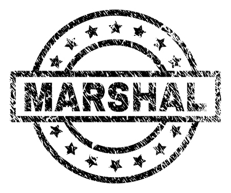 MARSHAL stamp seal watermark with distress style. Designed with rectangle, circles and stars. Black vector rubber print of MARSHAL title with grunge texture. Illustration