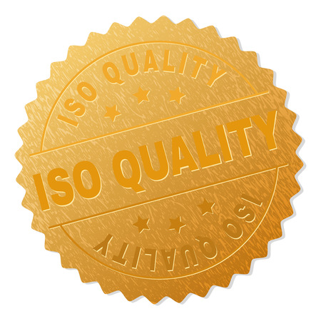 ISO QUALITY gold stamp award. Vector gold award with ISO QUALITY label. Text labels are placed between parallel lines and on circle. Golden skin has metallic effect.